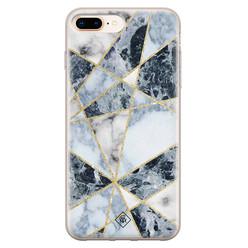 Casimoda iPhone 8 Plus/7 Plus siliconen hoesje - Marmer blauw