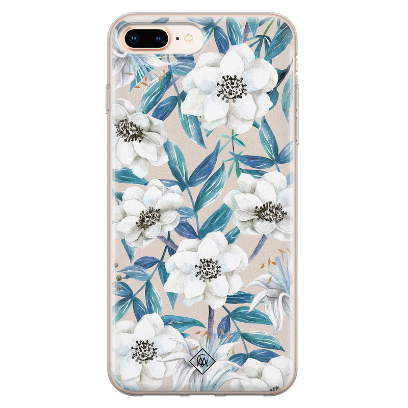Casimoda iPhone 8 Plus/7 Plus siliconen telefoonhoesje - Touch of flowers