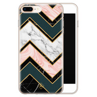 Casimoda iPhone 8 Plus/7 Plus siliconen hoesje - Marmer triangles