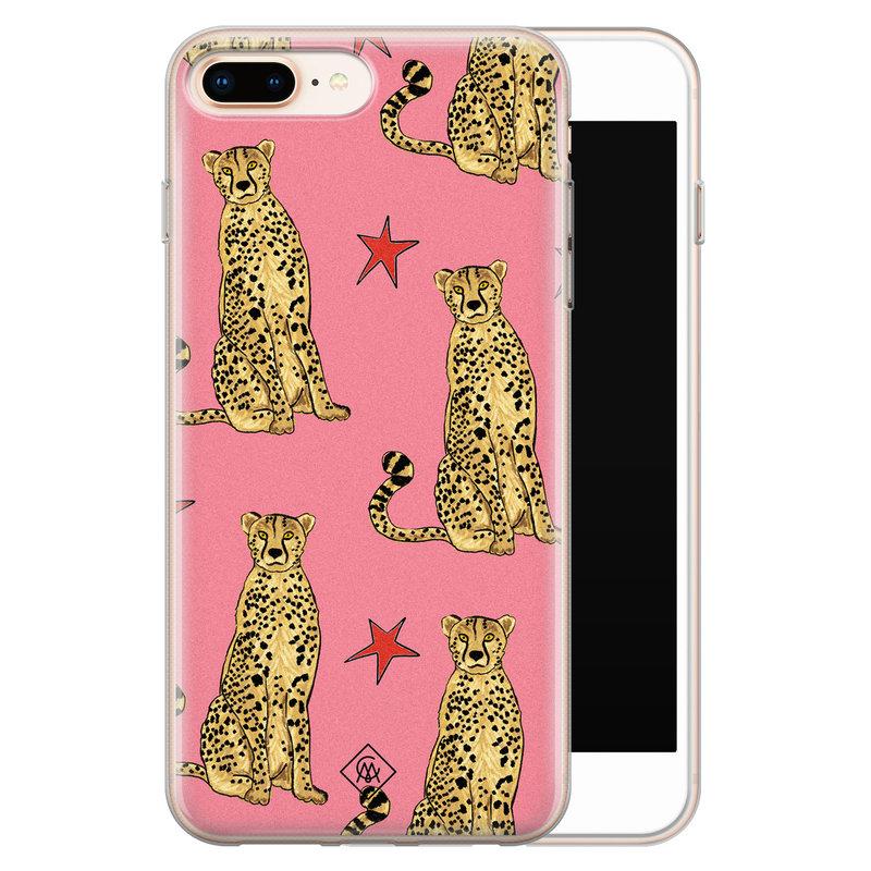 Casimoda iPhone 8 Plus/7 Plus siliconen hoesje - The pink leopard