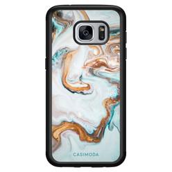 Casimoda Samsung Galaxy S7 hoesje - Marmer blauw goud
