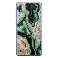 Casimoda Samsung Galaxy A10 siliconen hoesje - Green waves