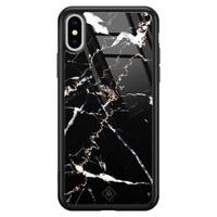 Casimoda iPhone XS Max glazen hardcase - Marmer zwart