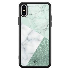Casimoda iPhone XS Max glazen hardcase - Minty marmer collage