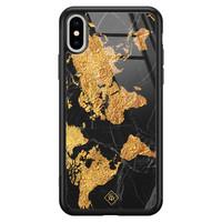 Casimoda iPhone XS Max glazen hardcase - Wereldkaart
