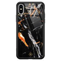 Casimoda iPhone XS Max glazen hardcase - Marmer zwart oranje