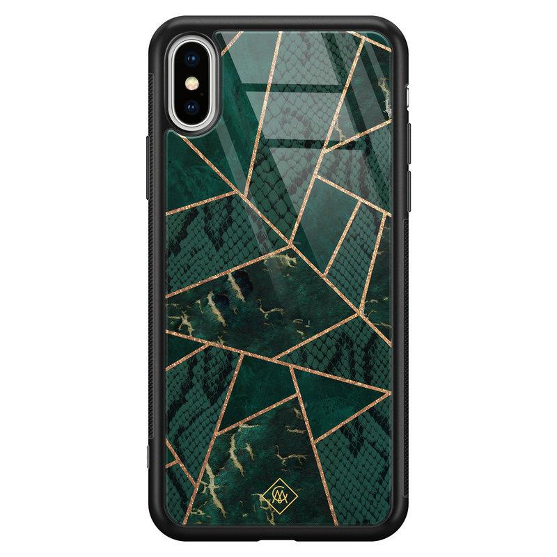 Casimoda iPhone XS Max glazen hardcase - Abstract groen