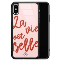 Casimoda iPhone XS Max glazen hardcase - La vie est belle