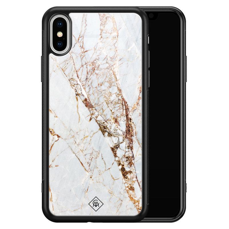 Casimoda iPhone XS Max glazen hardcase - Marmer goud
