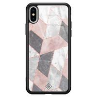 Casimoda iPhone XS Max glazen hardcase - Stone grid