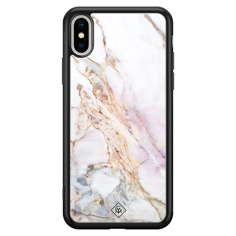 Casimoda iPhone XS Max glazen hardcase - Parelmoer marmer
