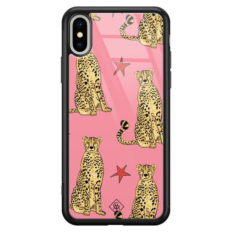 Casimoda iPhone XS Max glazen hardcase - The pink leopard