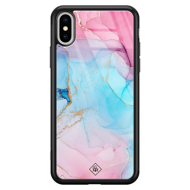 Casimoda iPhone XS Max glazen hardcase - Marble colorbomb