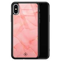 Casimoda iPhone XS Max glazen hardcase - Marmer roze