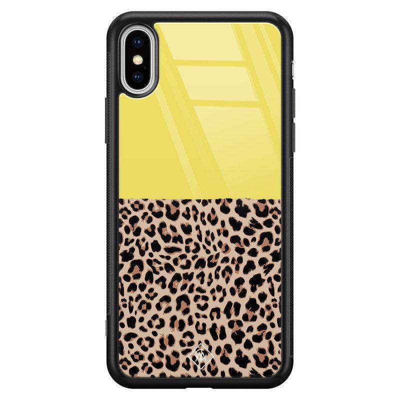 Casimoda iPhone XS Max glazen hardcase - Luipaard geel