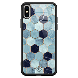 Casimoda iPhone XS Max glazen hardcase - Blue cubes