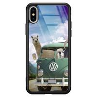 Casimoda iPhone XS Max glazen hardcase - Lama adventure