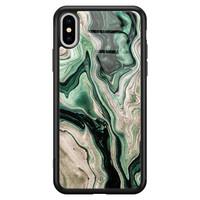 Casimoda iPhone XS Max glazen hardcase - Green waves