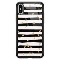 Casimoda iPhone XS Max glazen hardcase - Hart streepjes
