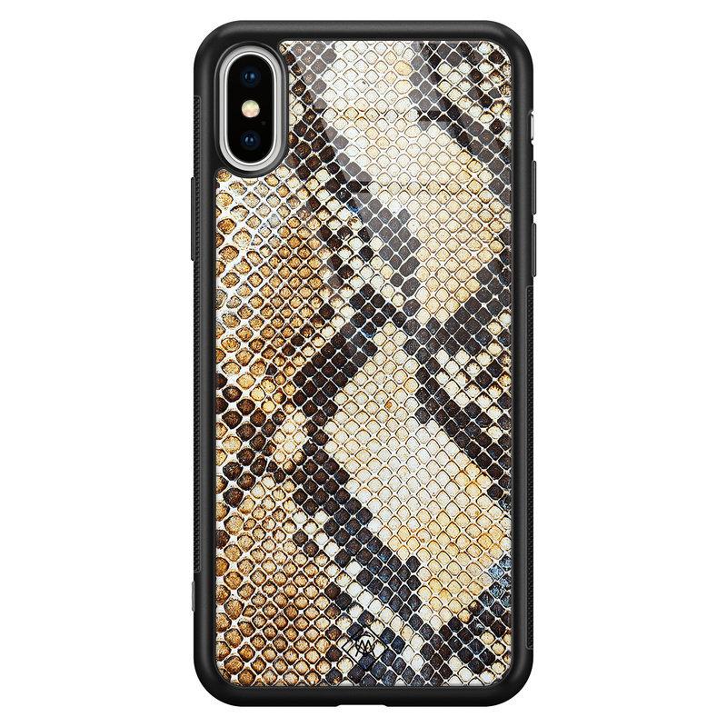 Casimoda iPhone XS Max glazen hardcase - Golden snake