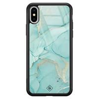 Casimoda iPhone XS Max glazen hardcase - Touch of mint