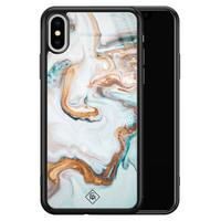 Casimoda iPhone XS Max glazen hardcase  - Goud blauw marmer