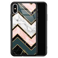 Casimoda iPhone XS Max glazen hardcase - Marmer triangles