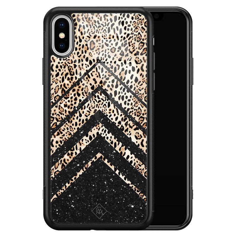 Casimoda iPhone XS Max glazen hardcase - Chevron luipaard