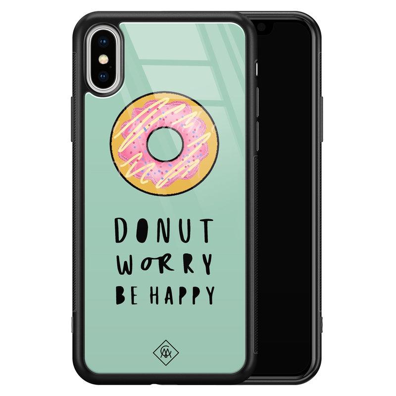 Casimoda iPhone XS Max glazen hardcase - Donut worry