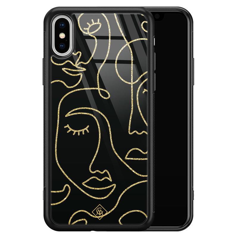 Casimoda iPhone XS Max glazen hardcase - Abstract faces