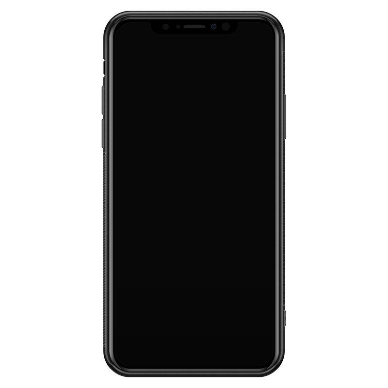 Casimoda iPhone XS Max glazen hardcase - Luipaard grijs