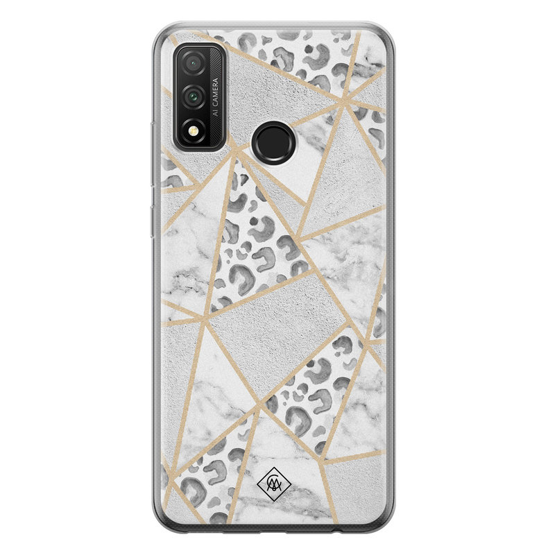 Casimoda Huawei P Smart 2020 siliconen telefoonhoesje - Stone & leopard print