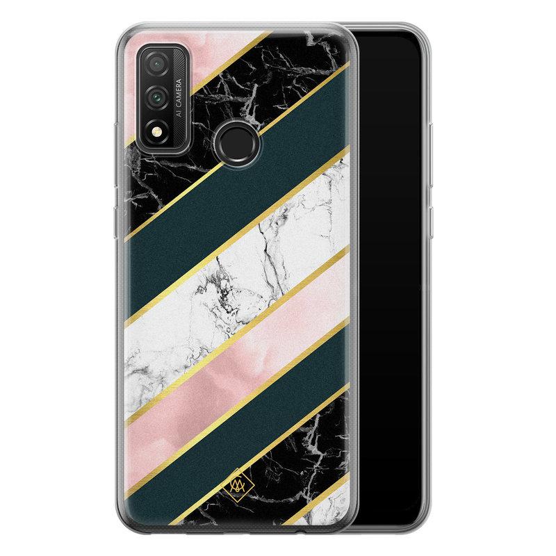 Casimoda Huawei P Smart 2020 siliconen hoesje - Marble stripes