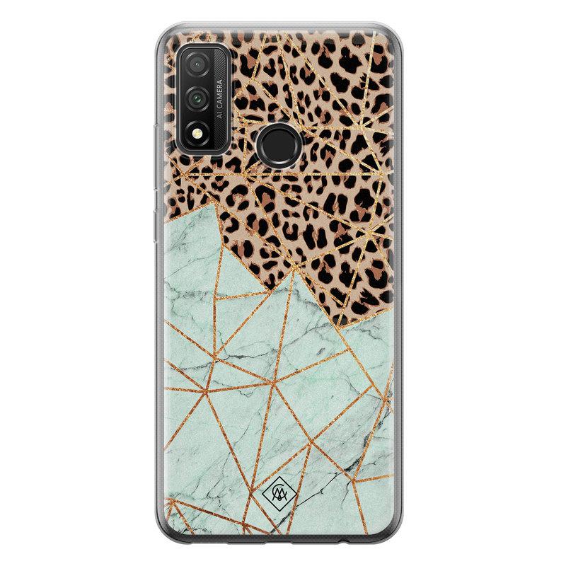 Casimoda Huawei P Smart 2020 siliconen hoesje - Luipaard marmer mint