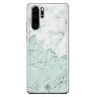 Casimoda Huawei P30 Pro siliconen telefoonhoesje - Marmer mint mix