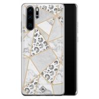 Casimoda Huawei P30 Pro siliconen telefoonhoesje - Stone & leopard print