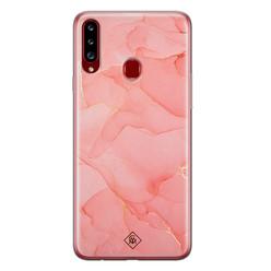 Casimoda Samsung Galaxy A20s siliconen hoesje - Marmer roze
