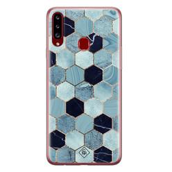 Casimoda Samsung Galaxy A20s siliconen hoesje - Blue cubes