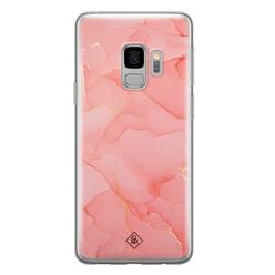Casimoda Samsung Galaxy S9 siliconen hoesje - Marmer roze