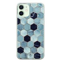 Casimoda iPhone 12 mini siliconen hoesje - Blue cubes