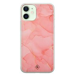 Casimoda iPhone 12 mini siliconen hoesje - Marmer roze