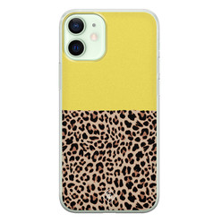 Casimoda iPhone 12 mini siliconen hoesje - Luipaard geel