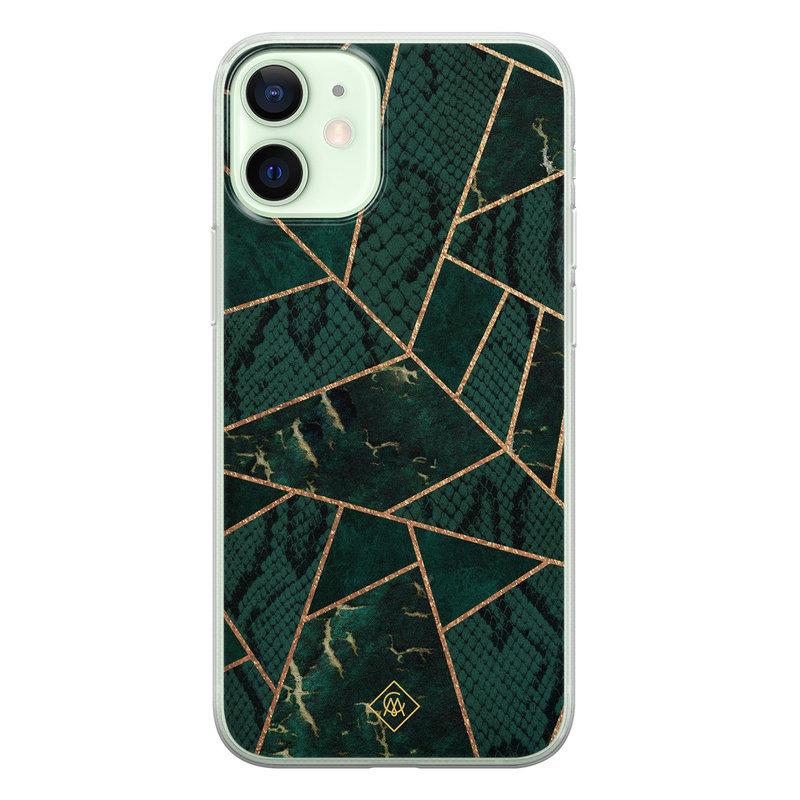 Casimoda iPhone 12 mini siliconen hoesje - Abstract groen