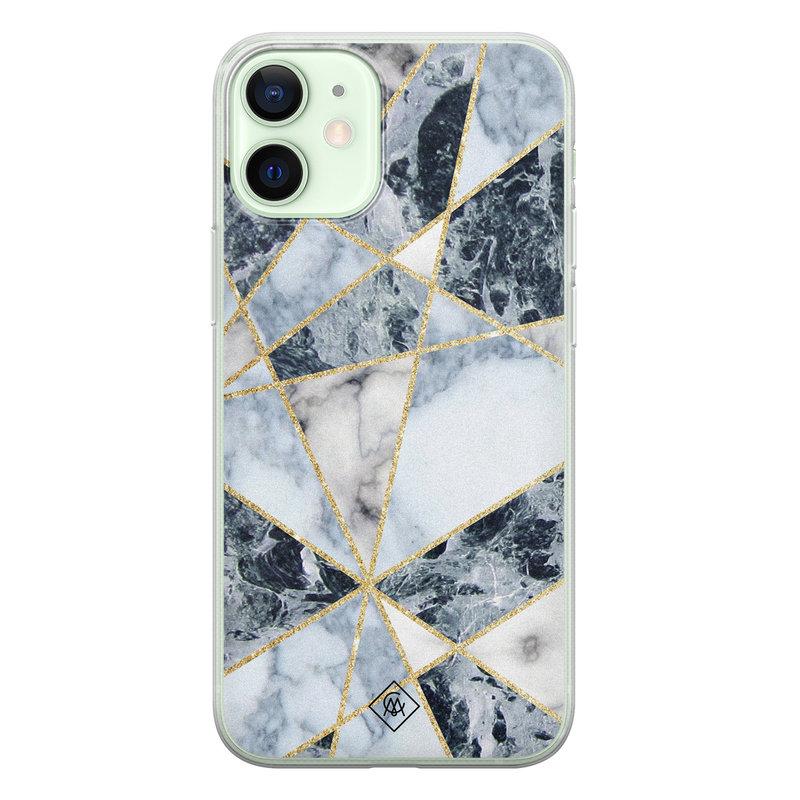 Casimoda iPhone 12 mini siliconen hoesje - Marmer blauw