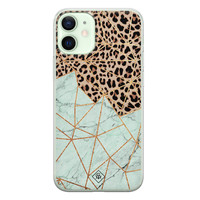 Casimoda iPhone 12 mini siliconen hoesje - Luipaard marmer mint