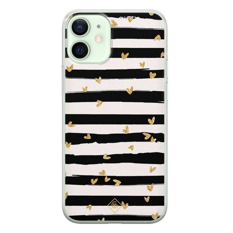 Casimoda iPhone 12 mini siliconen telefoonhoesje - Hart streepjes