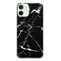 Casimoda iPhone 12 mini siliconen hoesje - Marmer zwart
