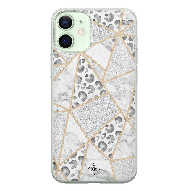 Casimoda iPhone 12 mini siliconen telefoonhoesje - Stone & leopard print