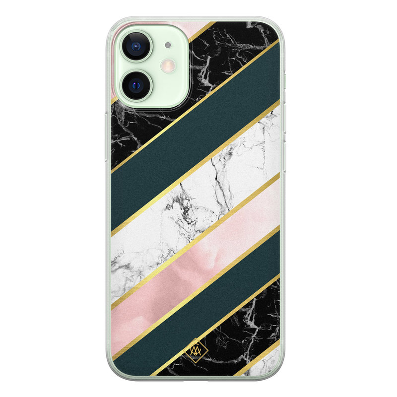 Casimoda iPhone 12 mini siliconen hoesje - Marble stripes