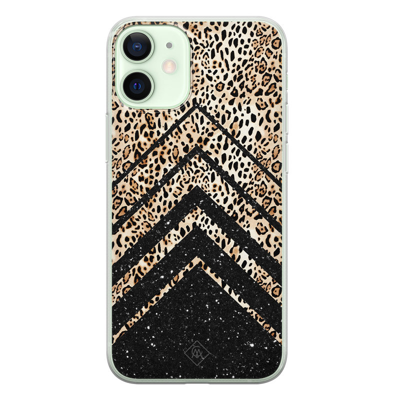 Casimoda iPhone 12 mini siliconen hoesje - Chevron luipaard
